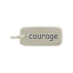 A316    -SV-CHRM Sterling Silver Word Charm - Courage