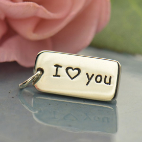A318    -SV-CHRM Sterling Silver Word Charm - I Heart You DISCONTINUED