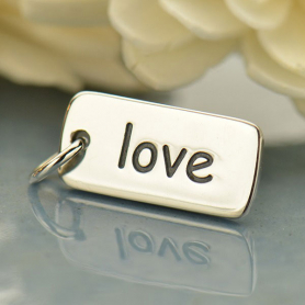 A321    -SV-CHRM Sterling Silver Word Charm - Love