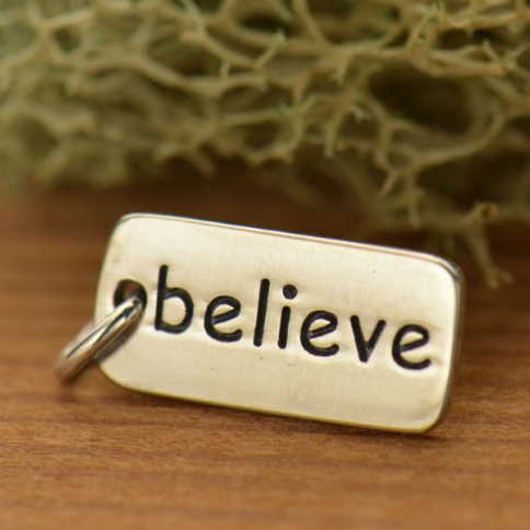 A348    -SV-CHRM Sterling Silver Word Charm - Believe
