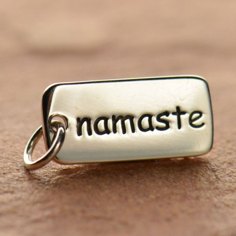 A360    -SV-CHRM Sterling Silver Word Charm - Namaste