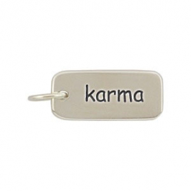 A363    -SV-CHRM Sterling Silver Word Charm - Karma DISCONTINUED