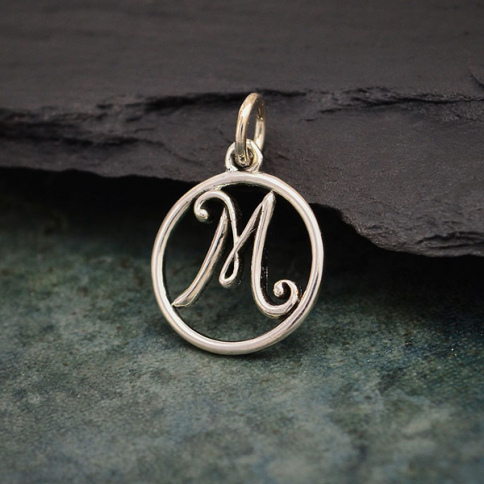 A3M     -SV-CHRM Sterling Silver Cursive Initial Charm Letter M 18x12mm