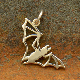 A4002   -SV-CHRM Sterling Silver Bat Charm - Openwork Halloween Charm