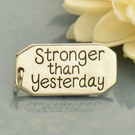 A4003   -SV-CHRM Sterling Silver Message Pendant: Stronger than Yesterday
