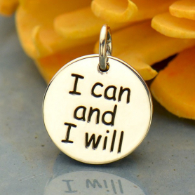 A4004   -SV-CHRM Sterling Silver Message Pendant - I Can and I Will