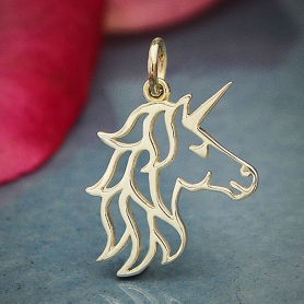 A4056   -SV-CHRM Sterling Silver Unicorn Charm - Openwork Unicorn Head