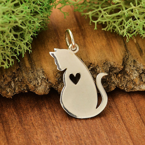 A4066   -SV-CHRM Sterling Silver Mommy Cat Charm with Heart Cutout