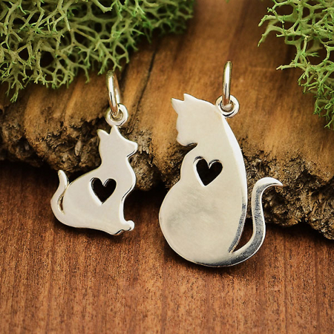 A4068   -SV-CHRM Sterling Silver Mommy and Baby Cat Charm Set