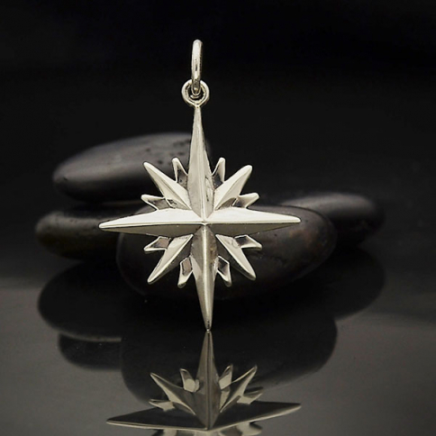 A4071   -SV-CHRM Sterling Silver North Star Charm with 16 Points