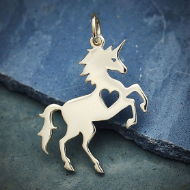 A4072   -SV-CHRM Sterling Silver Unicorn Charm with Heart Cutout