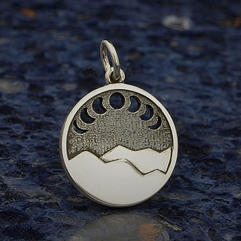 A4085   -SV-CHRM Sterling Silver Mountain Charm with Moon Phase Cutouts