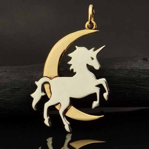 A4091   -SV-CHRM Sterling Silver Unicorn Charm with Bronze Moon