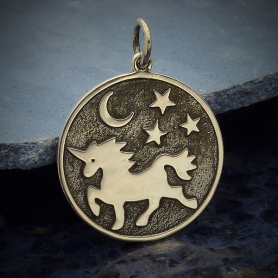 A4093   -SV-CHRM Sterling Silver Unicorn Pendant with Moon and Stars