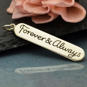 A4117   -SV-CHRM Sterling Silver Message Pendant - Forever and Always