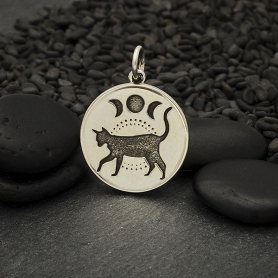 A4120   -SV-CHRM Sterling Silver Black Cat Charm with Moon Phases