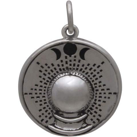 Sterling Silver Crystal Ball Charm with Moon Phases