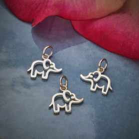 A4126   -SV-CHRM Sterling Silver Openwork Baby Elephant Charm