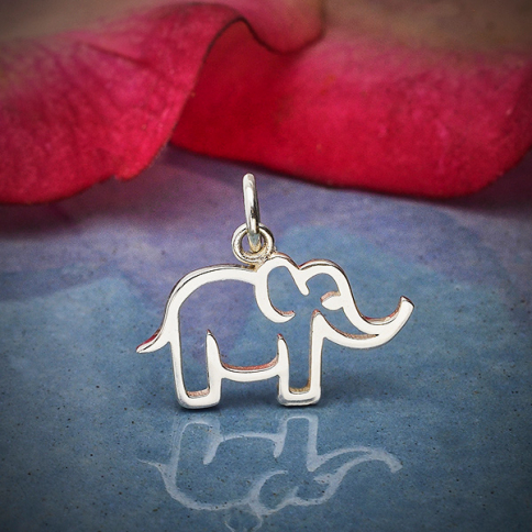 A4127   -SV-CHRM Sterling Silver Openwork Mama Elephant Charm