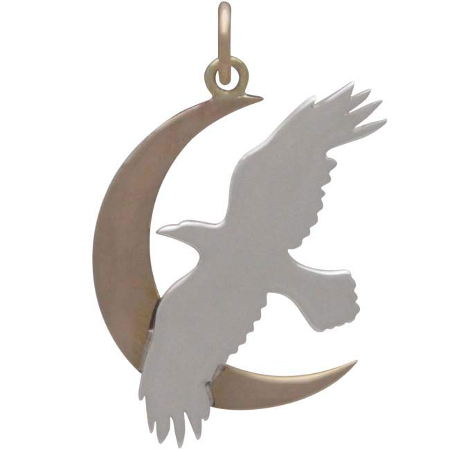 Sterling Silver Raven Charm with Bronze Moon