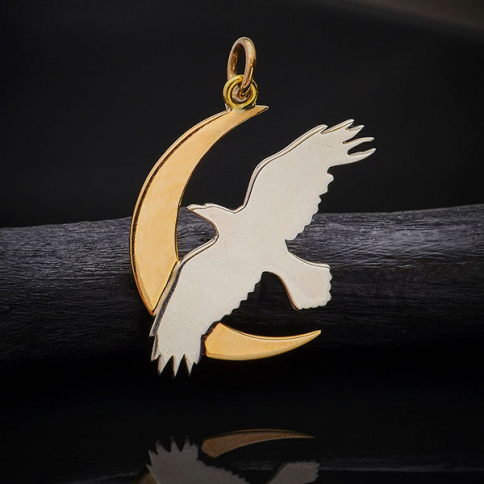 A4129   -SV-CHRM Sterling Silver Raven Charm with Bronze Moon
