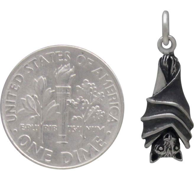 Sterling Silver Hanging Bat Charm