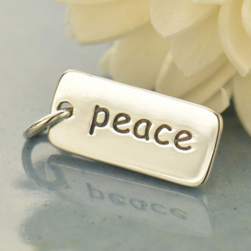 A466    -SV-CHRM Sterling Silver Word Charms - Peace