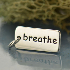 A512    -SV-CHRM Sterling Silver Word Charm - Breathe