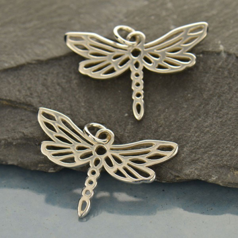 A567    -SV-CHRM Sterling Silver Dragonfly Charm - Animal Charms - Small
