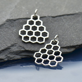 A6009   -SV-CHRM Sterling Silver HoneyComb Charm - Openwork