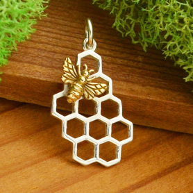 A6012   -SV-CHRM Sterling Silver Honeycomb Charm with Bronze Bee