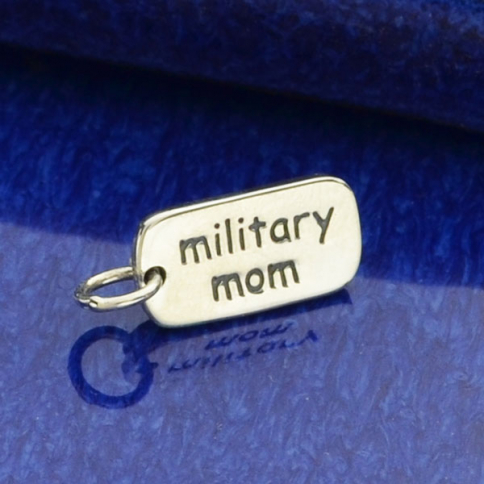 A6016   -SV-CHRM Sterling Silver Word Charm - Military Mom