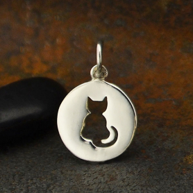 A6050   -SV-CHRM Sterling Silver Cat Charm cutout on disk