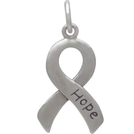 Sterling Silver Cancer Awareness Ribbon - Hope