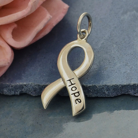 A6067   -SV-CHRM Sterling Silver Cancer Awareness Ribbon - Hope