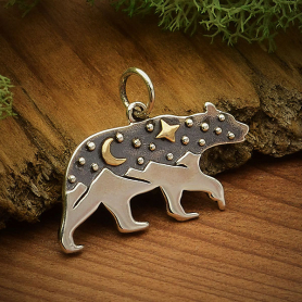 A6084   -SV-CHRM Sterling Silver Bear Charm with Mountains and Bronze Moon