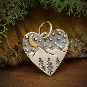 A6085   -SV-CHRM Sterling Silver Heart Charm with Mountains and Bronze Moon
