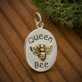A6087   -SV-CHRM Sterling Silver Queen Bee Charm with Bronze Bee
