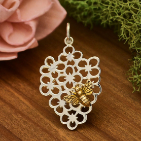 A6089   -SV-CHRM Sterling Silver Flower Charm with Bronze Bee