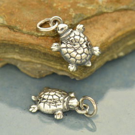 A609    -SV-CHRM Sterling Silver Turtle Charm - Beach Charm