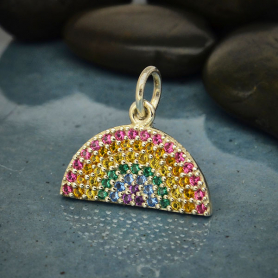 A6109   -SV-CHRM Sterling Silver Rainbow Charm with Nano Gem Crystals