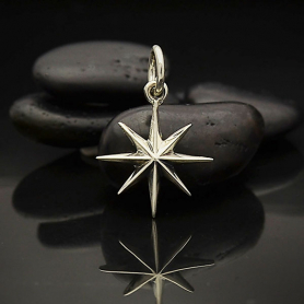 A6126   -SV-CHRM Sterling Silver Ridged Star Burst Charm with 8 Points