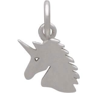 Sterling Silver Unicorn Charm - Flat Unicorn Head
