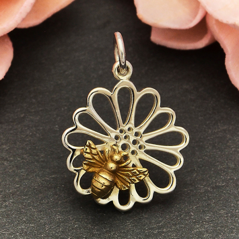 A6145   -SV-CHRM Sterling Silver Daisy Charm with Bronze Bee