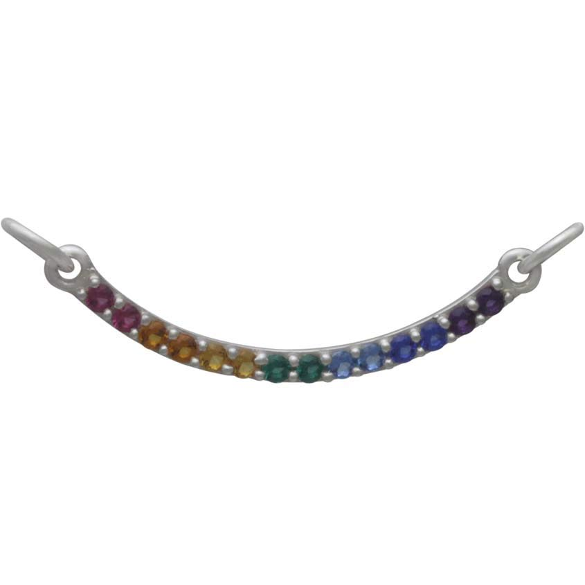 Sterling Silver Rainbow Pendant Festoon with Nano Gems