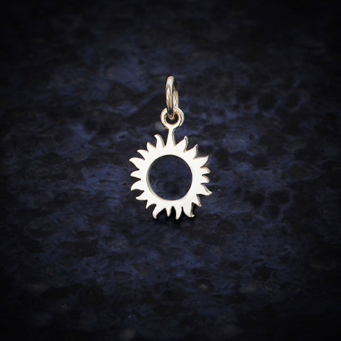 A6189   -SV-CHRM Sterling Silver Small Eclipse Charm -17mm