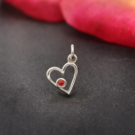 A6201   -SV-CHRM Sterling Silver Birthstone Heart Charm -January Garnet
