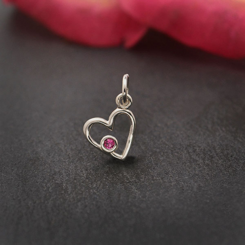 A6210   -SV-CHRM Sterling Silver Birthstone Heart Charm -October Tourmaline