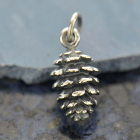 A628    -SV-CHRM Sterling Silver Pinecone Charm