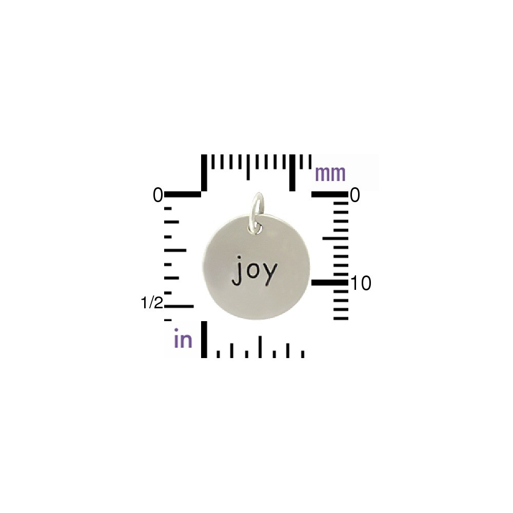 Sterling Silver Word Charm - Joy - Round